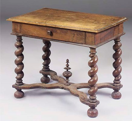A FRENCH WALNUT SIDE TABLE