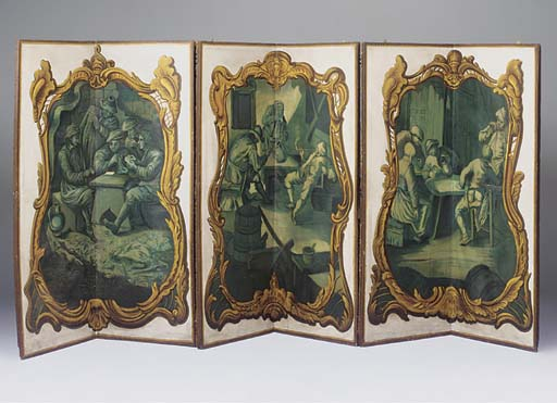 A FRENCH SIX-PANEL SCREEN