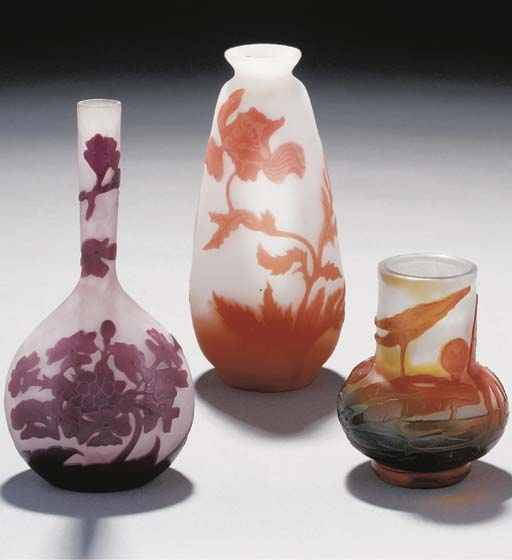 THREE CAMEO GLASS VASES