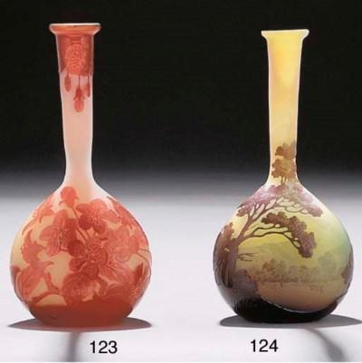 A CAMEO GLASS BOTTLE VASE
