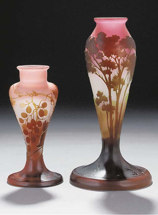 TWO CAMEO GLASS LANDSCAPE LAMP