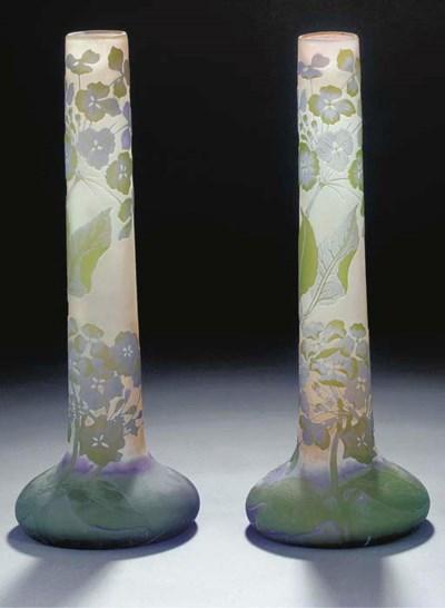 A PAIR OF CAMEO GLASS TUBULAR