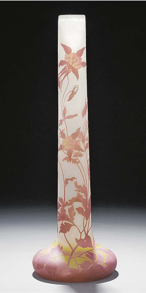 A CAMEO GLASS TUBE VASE