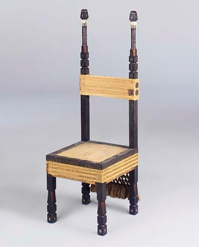 AN INLAID HIGH-BACK CHAIR