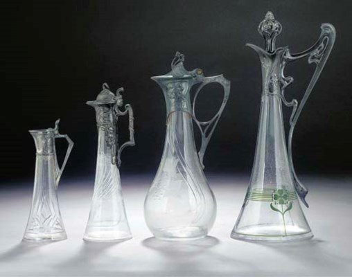 FOUR GLASS AND PEWTER DECANTER