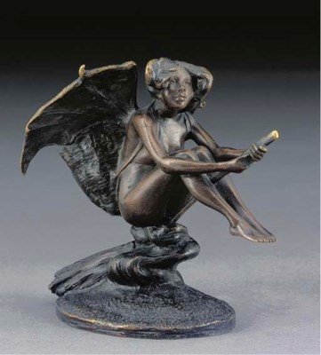 A PATINATED BRONZE FIGURAL MAT