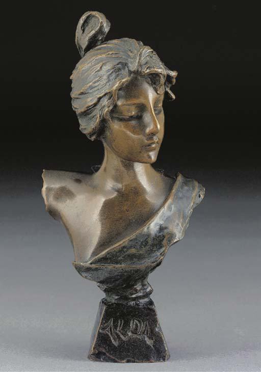 'ALOA' A PATINATED BRONZE BUST