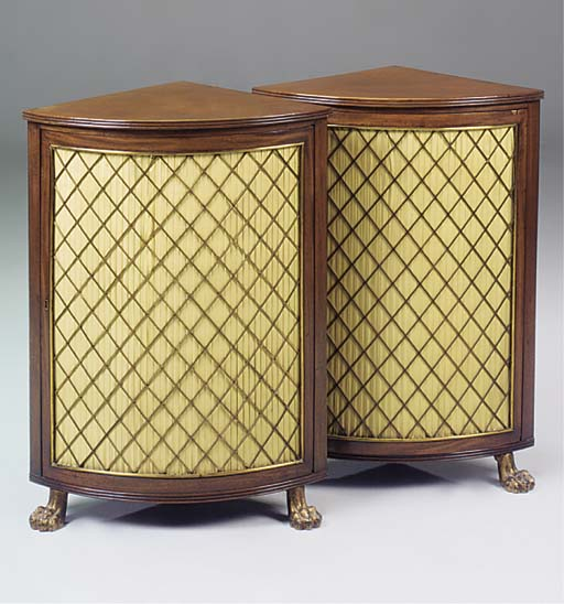 A PAIR OF MAHOGANY ENCOIGNURES