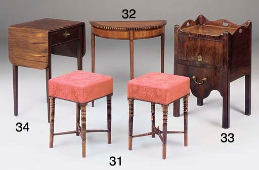 A NEAR PAIR OF MAHOGANY STOOLS