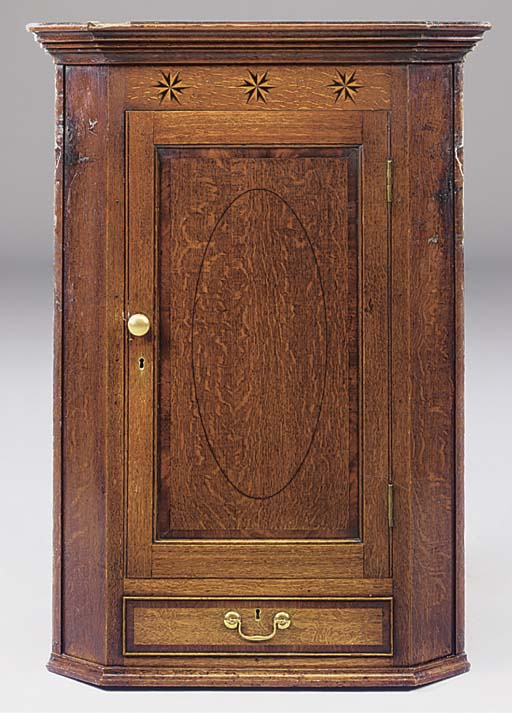 An oak inlaid and crossbanded