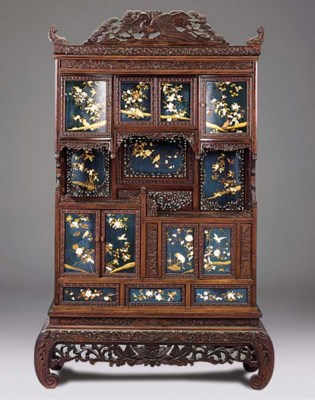 A JAPANESE CARVED BLUE LACQUER