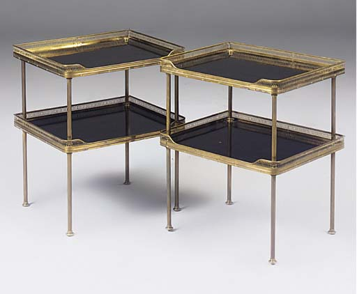 A PAIR OF BRASS AND EBONISED T