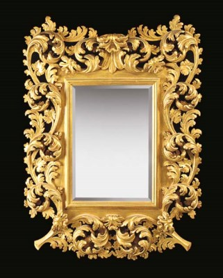 A RECTANGULAR GILTWOOD MIRROR