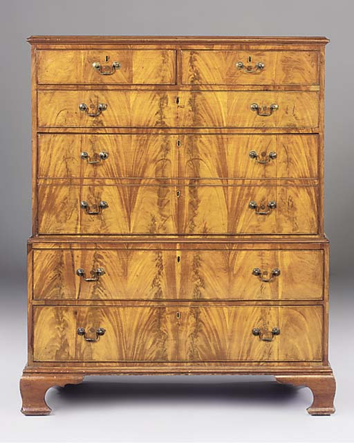 A MAHOGANY CHEST ON CHEST