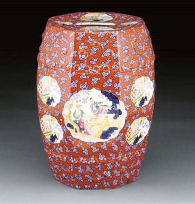 An English pottery garden-seat