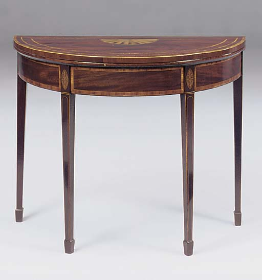 A MAHOGANY AND TULIPWOOD CROSSBANDED DEMI-LUNE CARD TABLE