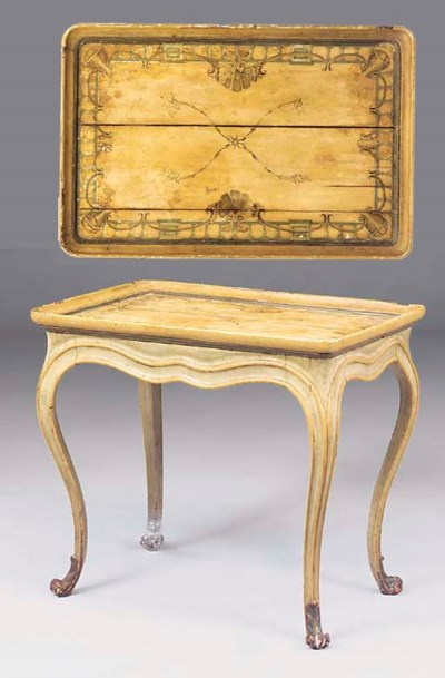 A PAINTED SILVER TABLE
