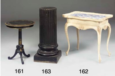 A PAIR OF EBONISED PEDESTALS