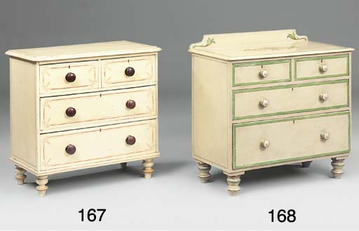 A VICTORIAN CREAM PAINTED PINE CHEST OF DRAWERS