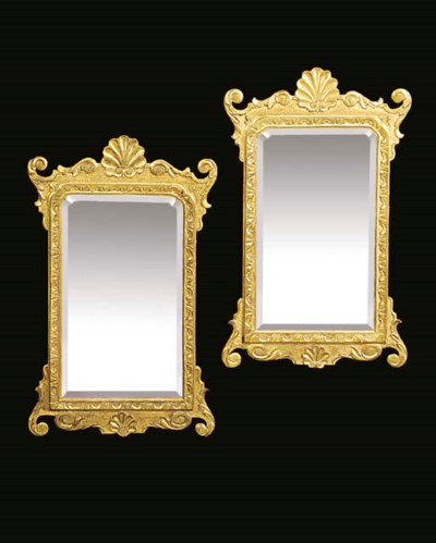A PAIR OF GILT GESSO WALL MIRR