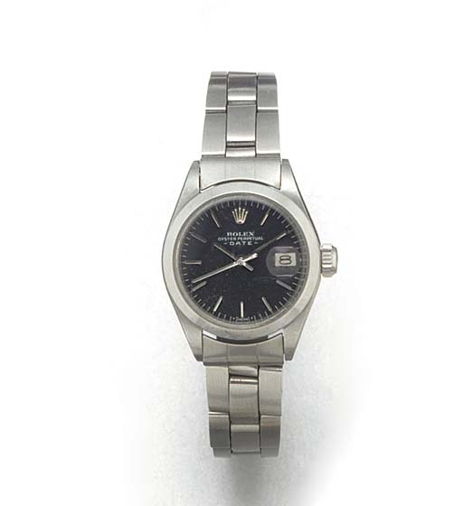 ROLEX: A LADY'S STAINLESS STEE
