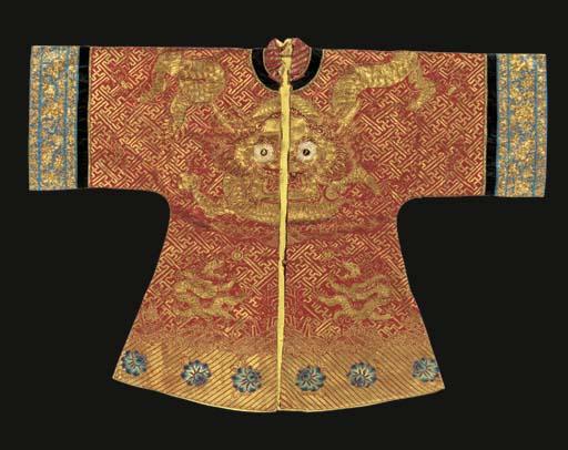 A semi-formal robe of red silk