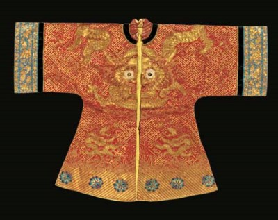 A semi-formal robe of red silk
