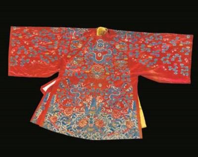 A semi-formal robe of scarlet
