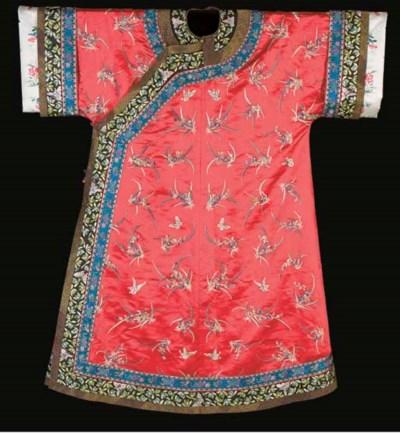 An informal robe of red satin,