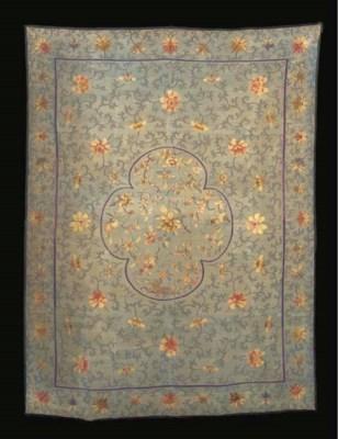 A kang cover of sea-green silk