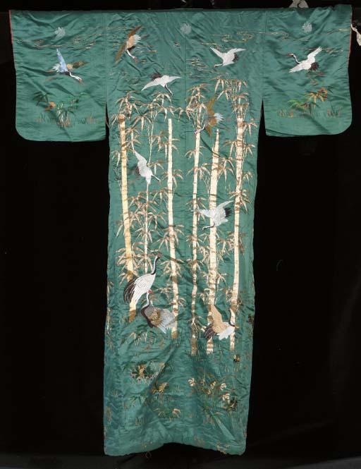 An embroidered kimono of turqu