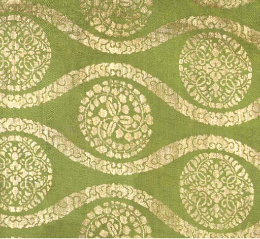 A joined hanging of sage green silk kinran, woven in gilt paper strip with floral mon motifs within meandering bands of clouds--76in. (194cm.) square, Japanese, 18th century
