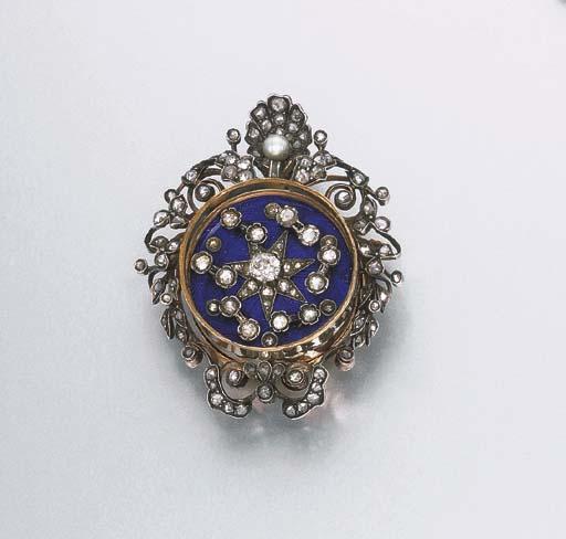 AN ANTIQUE DIAMOND AND BLUE EN