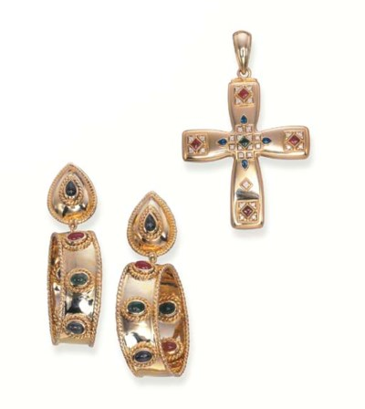 A GEM-SET CROSS PENDANT, BY CA