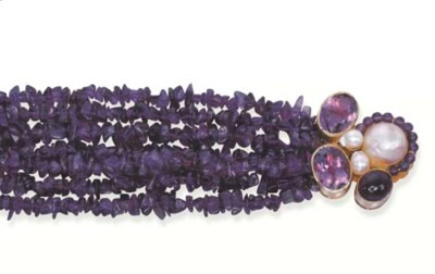 AN AMETHYST AND CULTURED PEARL