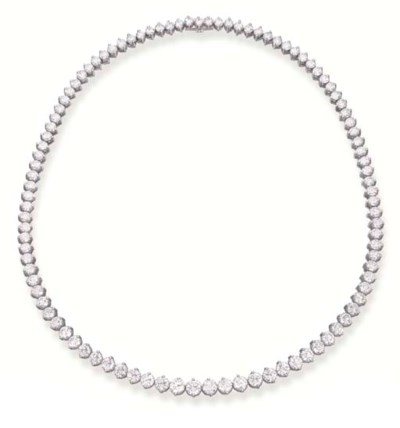 A DIAMOND RIVIERE NECKLACE, BY