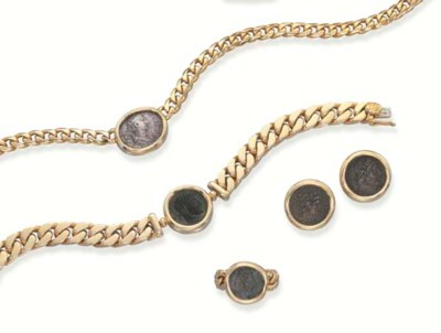 AN 18K GOLD AND ANTIQUE COIN S