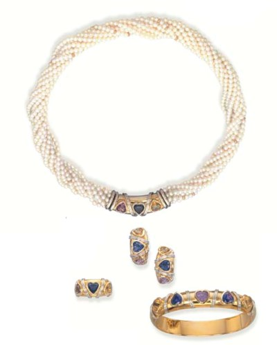 A CULTURED PEARL AND GEM-SET S