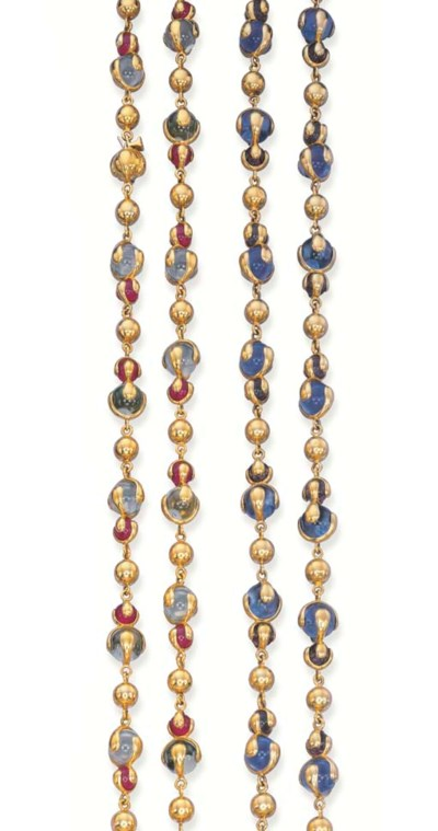 TWO 18K GOLD AND COLOURED SYNT
