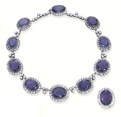AN ANTIQUE AMETHYST AND DIAMON