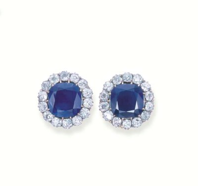 A PAIR OF KASHMIR SAPPHIRE AND