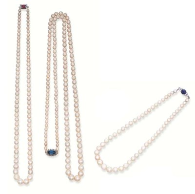 THREE NATURAL PEARL NECKLACES