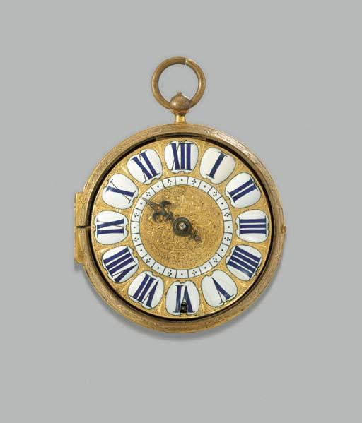 Nicolas Gribelin. An early gilt brass openface oignon verge watch with mock pendulum