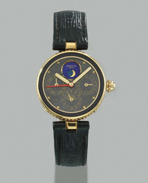 Gérald Genta. An 18K gold calendar wristwatch with alarm