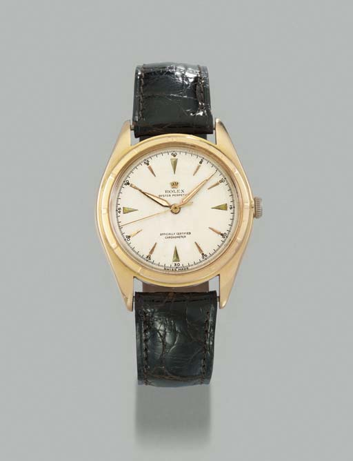 Rolex. An 18K pink gold self-winding waterproof wristwatch with sweep centre seconds
