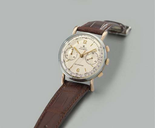 Rolex. A fine and rare stainless steel and pink gold chronograph wristwatch with pulsometer