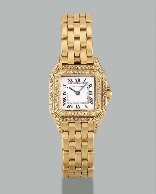 Cartier. A lady's 18K gold and diamond-set square-shaped wristwatch with bracelet