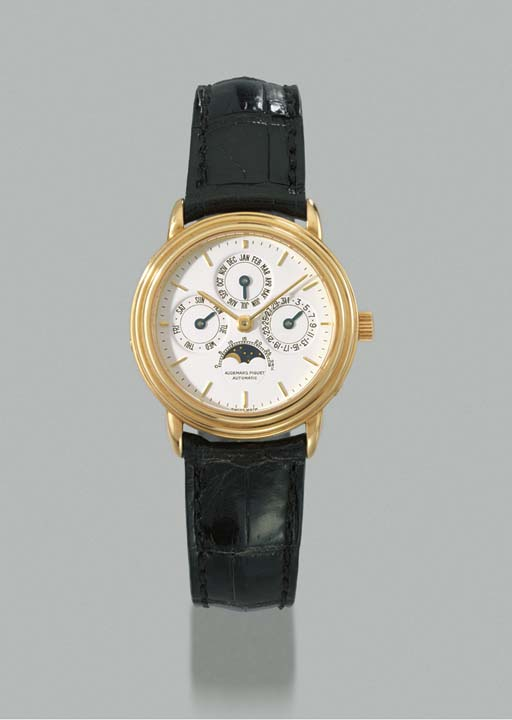Audemars Piguet. An unusual 18K gold mid-size self-winding perpetual calendar wristwatch with phases of the moon