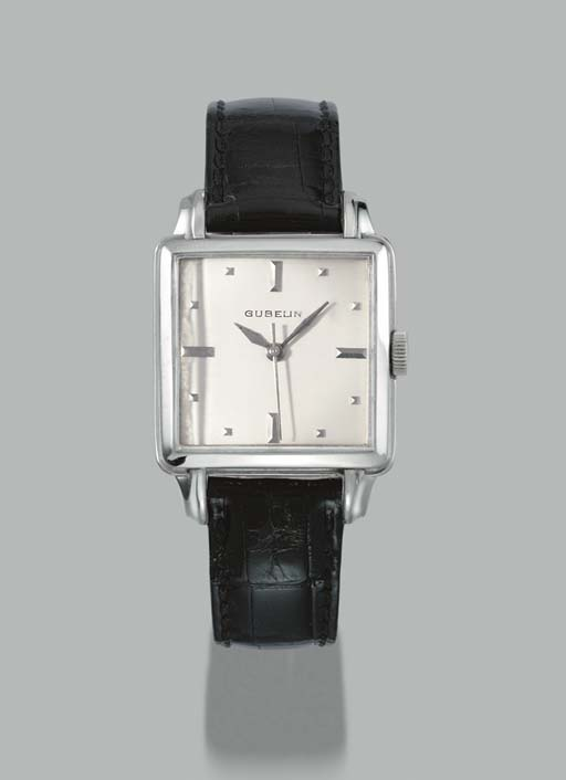 Gübelin. An unusual 18K white gold cushion-shaped self-winding wristwatch with sweep centre seconds