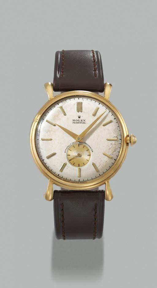 Rolex. An 18K gold self-winding wristwatch